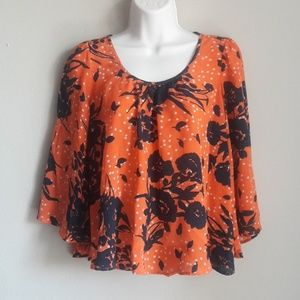 Anthropologie Trinity 100% Silk Bell Sleeve Top